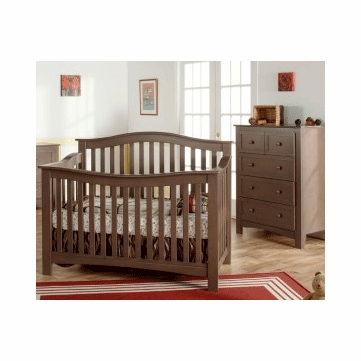 Pali Bolzano 2 Piece Nursery Set in Earth - Crib & 5 Drawer Dresser