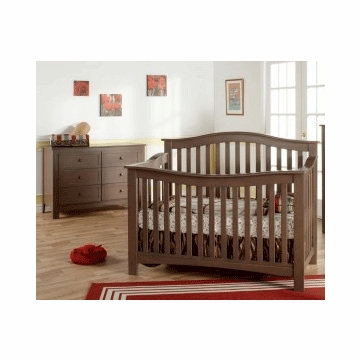 Pali Bolzano 2 Piece Nursery Set in Earth - Crib & Double Dresser