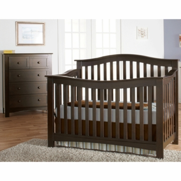 Pali Bolzano 2 Piece Nursery Set in Mocacchino - Crib & 5 Drawer Dresser