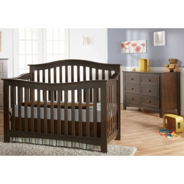 Pali Bolzano 2 Piece Nursery Set in Mocacchino - Crib & Double Dresser