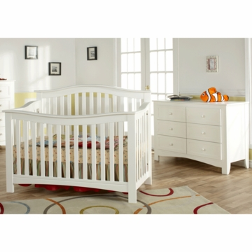 Pali Bolzano 2 Piece Nursery Set in White - Crib & Double Dresser