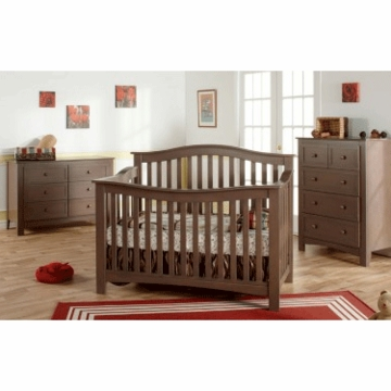 Pali Bolzano 3 Piece Nursery Set in Earth - Crib, Double Dresser & 5 Drawer Dresser