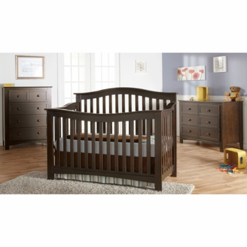 Pali Bolzano 3 Piece Nursery Set in Mocacchino - Crib, Double Dresser & 5 Drawer Dresser
