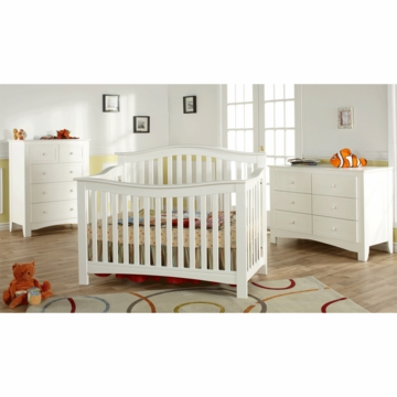 Pali Bolzano 3 Piece Nursery Set in White - Crib, Double Dresser & 5 Drawer Dresser
