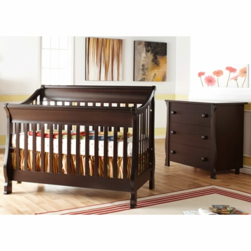 Pali Carina 2 Piece Nursery Set in Mocacchino - Forever Crib & 3 Drawer Dresser