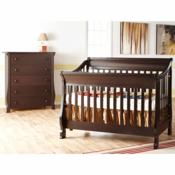 Pali Carina 2 Piece Nursery Set in Mocacchino - Forever Crib & 5 Drawer Dresser