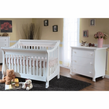 Pali Carina 2 Piece Nursery Set in White - Forever Crib & 3 Drawer Dresser