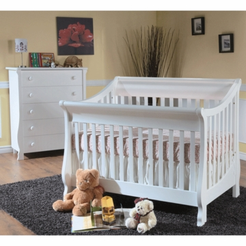 Pali Carina 2 Piece Nursery Set in White - Forever Crib & 5 Drawer Dresser