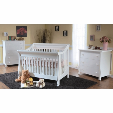 Pali Carina 3 Piece Nursery Set in White - Forever Crib, 3 Drawer Dresser & 5 Drawer Dresser