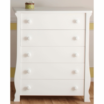 Pali Carina 5 Drawer Dresser in White