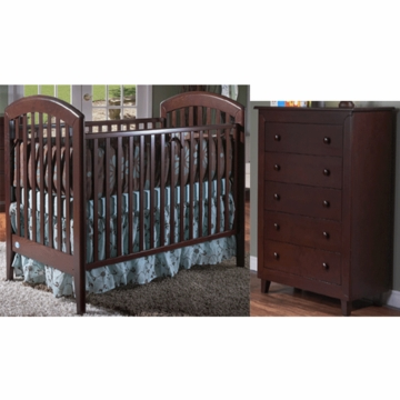 Pali Gala 2 Piece Nursery Set in Mocacchino - Fixed Crib & 5 Drawer Dresser