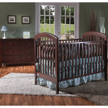 Pali Gala 2 Piece Nursery Set in Mocacchino - Fixed Crib & Double Dresser