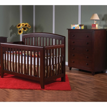 Pali Gala 2 Piece Nursery Set in Mocacchino - Forever Crib & 5 Drawer Dresser