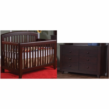 Pali Gala 2 Piece Nursery Set in Mocacchino - Forever Crib & Double Dresser