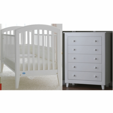 Pali Gala 2 Piece Nursery Set in White - Fixed Crib & 5 Drawer Dresser