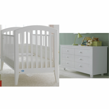 Pali Gala 2 Piece Nursery Set in White - Fixed Crib & Double Dresser