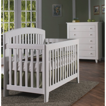 Pali Gala 2 Piece Nursery Set in White - Forever Crib & 5 Drawer Dresser
