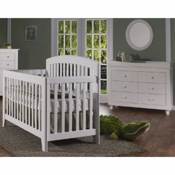 Pali Gala 2 Piece Nursery Set in White - Forever Crib & Double Dresser