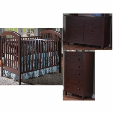 Pali Gala 3 Piece Nursery Set in Mocacchino - Fixed Crib, Double Dresser & 5 Drawer Dresser