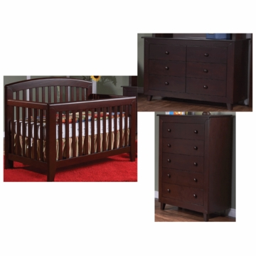 Pali Gala 3 Piece Nursery Set in Mocacchino - Forever Crib, Double Dresser & 5 Drawer Dresser