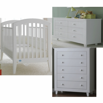 Pali Gala 3 Piece Nursery Set in White - Fixed Crib, Double Dresser & 5 Drawer Dresser