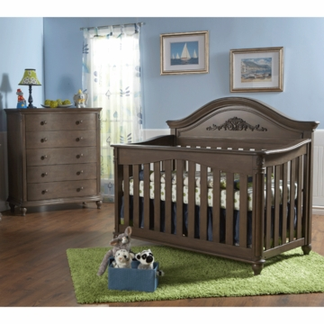 Pali Gardena 2 Piece Nursery Set in Slate - Forever Crib & 5 Drawer Dresser