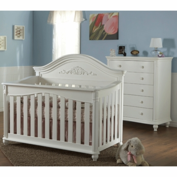 Pali Gardena 2 Piece Nursery Set in White - Forever Crib & 5 Drawer Dresser