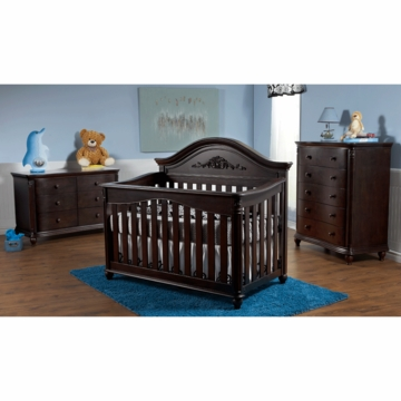 Pali Gardena 3 Piece Nursery Set in Mocacchino - Forever Crib, Double Dresser & 5 Drawer Dresser