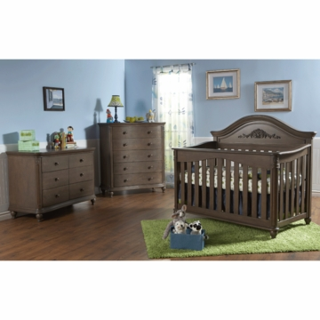 Pali Gardena 3 Piece Nursery Set in Slate - Forever Crib, Double Dresser & 5 Drawer Dresser
