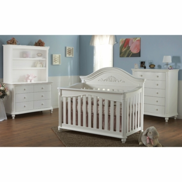 Pali Gardena 3 Piece Nursery Set in White - Forever Crib, Double Dresser & 5 Drawer Dresser