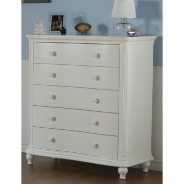 Pali Gardena 5 Drawer Dresser in White