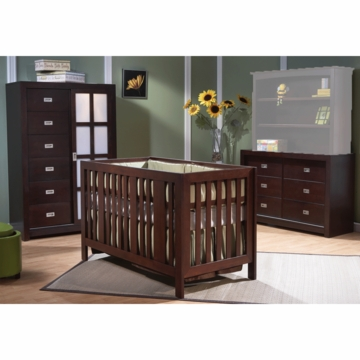 Pali Imperia 3 Piece Nursery Set in Mocacchino - Forever Crib, Armoire & Double Dresser