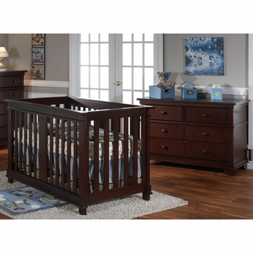 Pali Lucca 2 Piece Nursery Set in Mocacchino - Crib & Double Dresser