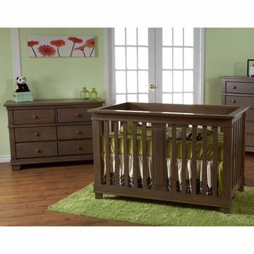 Pali Lucca 2 Piece Nursery Set in Slate - Crib & Double Dresser