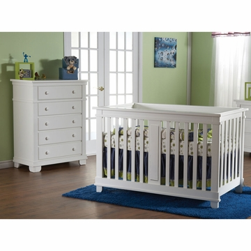 Pali Lucca 2 Piece Nursery Set in White - Crib & 5 Drawer Dresser