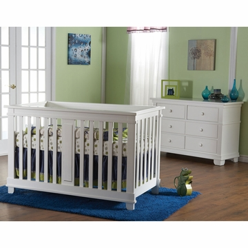 Pali Lucca 2 Piece Nursery Set in White - Crib & Double Dresser