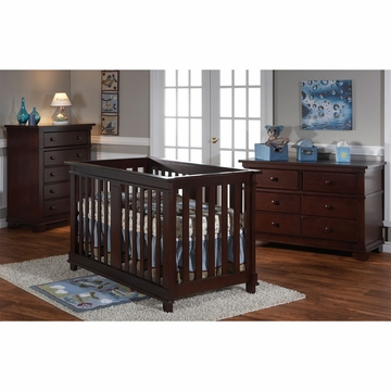 Pali Lucca 3 Piece Nursery Set in Mocacchino - Crib, Double Dresser & 5 Drawer Dresser
