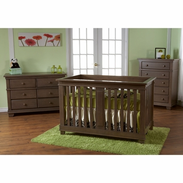 Pali Lucca 3 Piece Nursery Set in Slate - Crib, Double Dresser & 5 Drawer Dresser