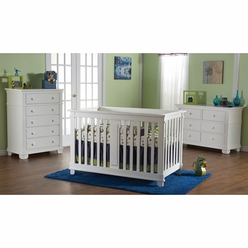 Pali Lucca 3 Piece Nursery Set in White - Crib, Double Dresser & 5 Drawer Dresser