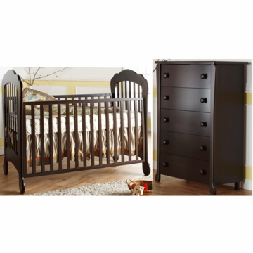 Pali Manon 2 Piece Nursery Set in Mocacchino - Crib & 5 Drawer Dresser