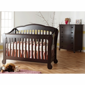 Pali Manon 2 Piece Nursery Set in Mocacchino - Forever Crib & 5 Drawer Dresser