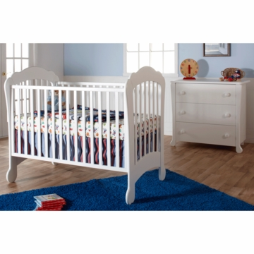 Pali Manon 2 Piece Nursery Set in White - Crib & 3 Drawer Dresser