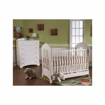 Pali Manon 2 Piece Nursery Set in White - Crib & 5 Drawer Dresser