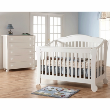 Pali Manon 2 Piece Nursery Set in White - Forever Crib & 5 Drawer Dresser