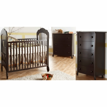 Pali Manon 3 Piece Nursery Set in Mocacchino - Crib, 3 Drawer Dresser & 5 Drawer Dresser