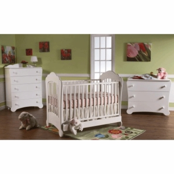 Pali Manon 3 Piece Nursery Set in White - Crib, 3 Drawer Dresser & 5 Drawer Dresser