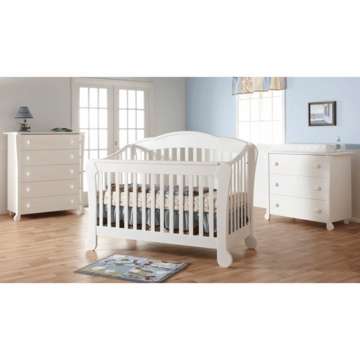 Pali Manon 3 Piece Nursery Set in White - Forever Crib, 3 Drawer Dresser & 5 Drawer Dresser