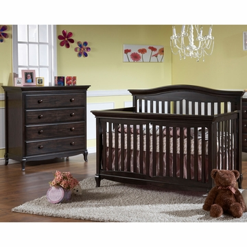 Pali Mantova 2 Piece Nursery Set in Onyx - Crib & 4 Drawer Dresser