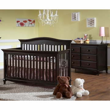 Pali Mantova 2 Piece Nursery Set in Onyx - Crib & Double Dresser