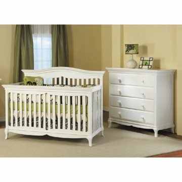 Pali Mantova 2 Piece Nursery Set in White - Crib & 4 Drawer Dresser